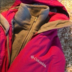 Pink and Gray Columbia Coat & Detachable Fleece